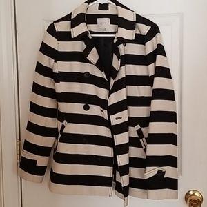 Cotton striped pea coat
